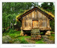 Awesome shed chalet! Log Cabin Living, Living Roofs, Home Landscaping, Forest House, Cabins And Cottages, Cabin Design, Old Doors, Home Wallpaper, Old Barns