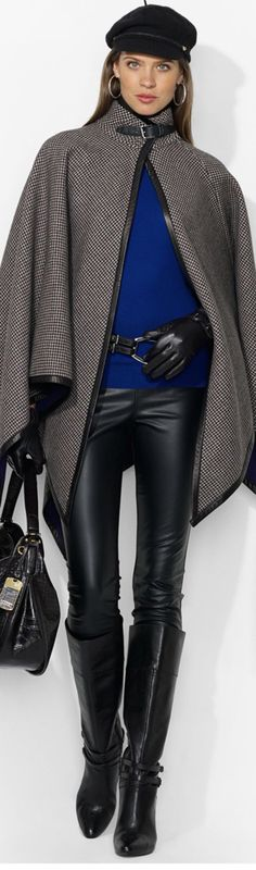 Ralph Lauren: from black to grey to blue to leather and wool...balanced with the rigth color and material. Winter meets comfort meets high fasion.