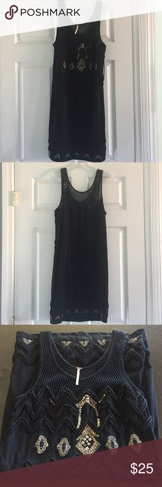 """Free People dress *reposh* Free People black beaded croqueted top dress, size large.  96% cotton, 4% spandex.  35"""" long.  Reposh.  Used condition with signs of wear and missing beads.  Still cute and a nice weight fabric. Free People Dresses Midi"""