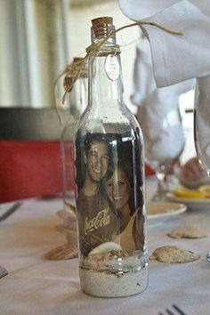 Beach wedding couple in a bottle