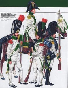 Velites of the Italian Royal Guard 1812 Kingdom Of Naples, Kingdom Of Italy, Army Uniform, Military Uniforms, Italian Army, Battle Of Waterloo, Honor Guard, German Uniforms, French Army