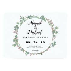Greenery Rustic Floral Modern Wedding Invitations