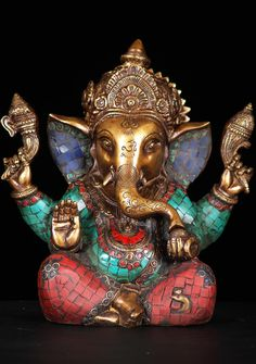 View the Ganesh Statue with Stones 9""