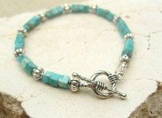 Genuine Turquoise Bracelet. Unisex Turquoise Bracelet. Turquoise Jewelry. Unisex Jewelry. Southwest Jewelry via Etsy