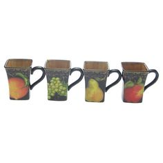 Fruit Filigree Mug - Set of 4
