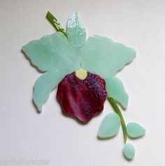 ORCHID FLOWER Precut Stained Glass Kit Mosaic Inlay Garden Stepping Stone Tile