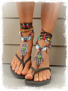 Green Eye HAMSA hand BAREFOOT sandals tribal belly Dance foot jewelry Wrap sandal Ethnic Wedding Hippie Boho Toe Thong bare feet GPyoga