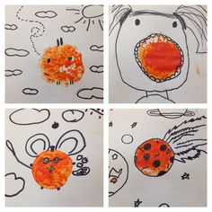 Gorgeous Grade 1/2 drawings on top of prints they had made with a cut orange. Turning out prints into creative drawings.