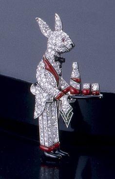 "Raymond C Yard diamond and ruby ""Rabbit Waiter"" Brooch."