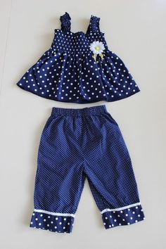 BLUEBERI BOULEVARD Infant 24 Mo 2 Piece Navy White Polka Dot Outfit Set  #BlueberiBoulevard