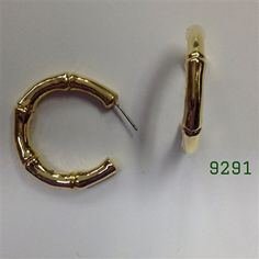 Gold Large Bamboo Post Earrings 1 1/4""