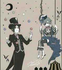 Smile (ciel) & Black (Sebastian) from kuroshitsuji. I like it very much