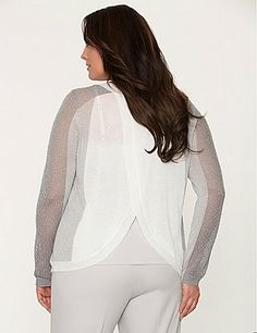 Metallic mesh sleeves update our tulip-back sweater with a trend-right colorblock motif and a splash of sparkle. Long sleeves and ribbed trim. Sheer for lightweight layering over your favorite tank or cami. lanebryant.com