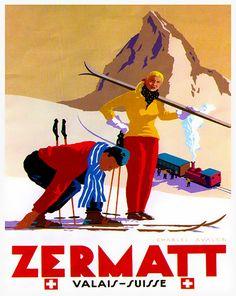 Zermatt Travel Art Poster Print Swiss Wall Decor by Blivingstons