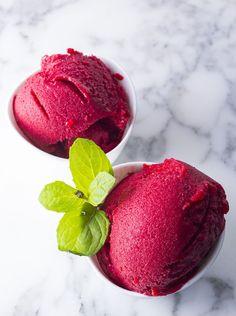 Easy Rasberry Basil Sorbet | Fox and Fennel