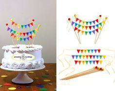 Happy Retirement Rainbow Cake Bunting Topper by AmazingBuntings