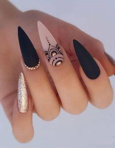 Nails Inc, Gel Nails, Coffin Nails, Nail Nail, Matte Nails, Cute Acrylic Nail Designs, Best Acrylic Nails, Black Nails With Designs, Pretty Nail Designs