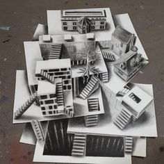 Architecture on Different Levels, but all of the sheets of paper are on the same level, flat on the surface. Optical Illusions in 3D Drawings. By Ramon Bruin.