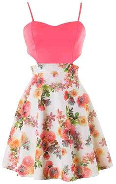 Multi Color Floral Print Cutout Skater Dress #ustrendy www.ustrendy.com