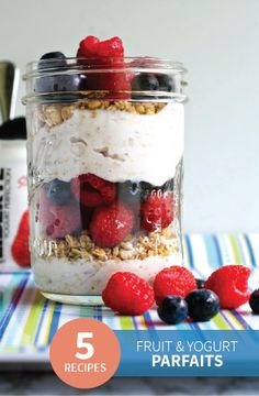These 5 Make-Ahead Mason Jar Parfaits are quick and easy yogurt snacks you and your kids can make for breakfast, lunch, or anything in between! Try adding Rice Krispies® cereal for a light crunchy layer.