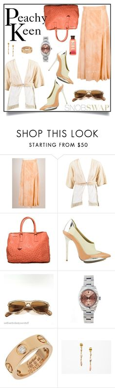 """Peachy Keen"" by snobswap ❤ liked on Polyvore featuring ESCADA, STELLA McCARTNEY, Prada, Balenciaga, Oliver Peoples, Rolex and Innisfree"
