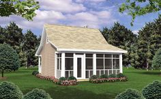House Plan 59108 - Cottage, Country, Southern Style House Plan with 400 Sq Ft, 1 Bed, 1 Bath Cottage Style House Plans, Cabin House Plans, Southern House Plans, Cottage Style Homes, Southern Homes, Best House Plans, Country House Plans, Cottage Design, House Design