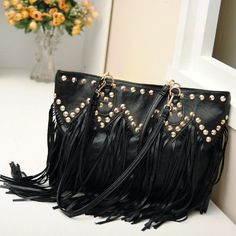 #Amazon.com: Women Tassel Fringed Handbag Rivet Chain Bag Shoulder Purse Bag Black: Clothing