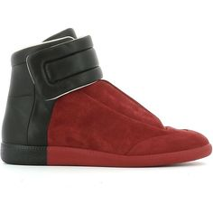Maison Margiela Red Suede Sneakers ($470) ❤ liked on Polyvore featuring shoes, sneakers, red, red suede sneakers, suede trainers, maison margiela, suede shoes and suede sneakers