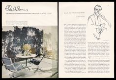 1966 #Eames magazine interview, with glorious photo of #Eames aluminum group table and chairs.