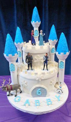 Gabby's Birthday For my grand-daughter. Fancy Birthday Cakes, Frozen Birthday, Fancy Cakes, Birthday Parties, Disney Frozen Cake, Frozen Theme Cake, Fondant Cakes, Cupcake Cakes, Torte Frozen
