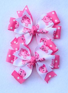 Set of 2 Hair Bows, Pigtail Hair Bows, Piggy Hair Bow, Hair Bow with Pigs, Pink Hair Bow, Simple Bow, Farm Themed Hair Bow, 4-H Hair Bows by LizzyBugsBowtique on Etsy