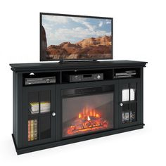 free shipping when you buy corliving carter 65 tv stand with fireplace at wayfair great - Electric Fireplaces With Tv Stands