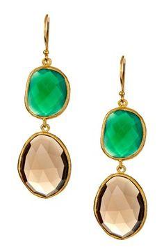 Green Agate & Smokey Quartz Bezel Set Dangle Earrings