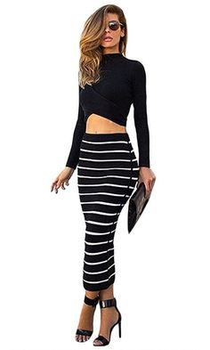Triple Threat Long Sleeve Mock Neck Crop Top Striped Bodycon Bandage Two Piece Dress