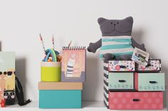 This multi drawer desk unit which features a cheerful cat wearing glasses on a blue and white stripe background will be sure to brighten up your workspace! Cat Wearing Glasses, Drawer Unit, Striped Background, Desk With Drawers, Toy Chest, Storage Chest, Toddler Bed, Stationery, Blue And White
