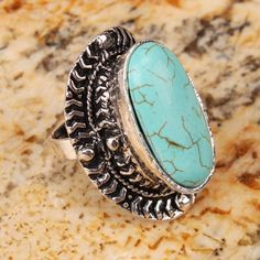 Blue Oval Turquoise Adjustable Ring Diameter 17mm(Min)