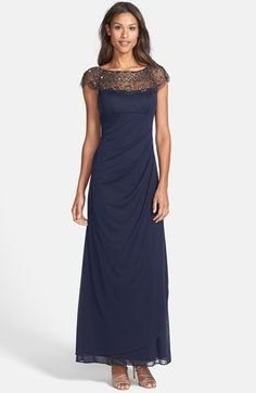 d43050548c4a2 Free shipping and returns on Xscape Beaded Yoke Drape Mesh Gown at  Nordstrom.com.