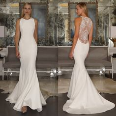 Romona Keveza simple high neck, illusion lace low-back