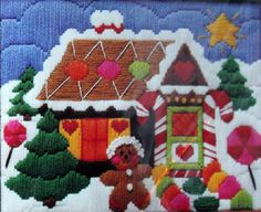 Crewel Embroidery Kit Gingerbread House The Creative by LifesAYoyo