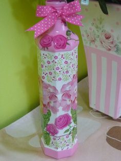 decoupage on bottle