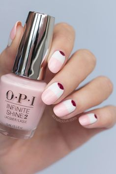 pink and white nails, opi infinite shine pretty pink perseveres #pinkandwhitenails #SummerNails