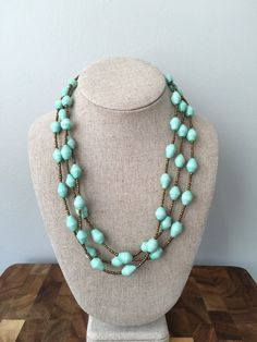 Rwandan Paper Bead Necklace  Mint Paper Bead Necklace  by GoodGali