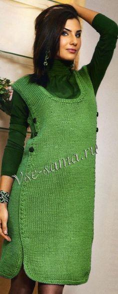 Сарафан модного зелёного цвета, фото