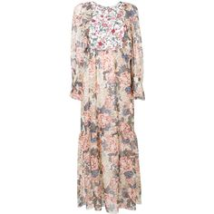 See By Chloé floral maxi dress (9.836.025 IDR) ❤ liked on Polyvore featuring dresses, white, flutter sleeve dress, long dresses, flared skirts, floral print maxi dress and white floral dress
