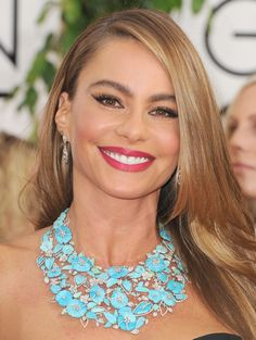 Sofia Vergara's Classic Red Lip for the Golden Globes with COVERGIRL Lip Perfection Lipstick in Flame.