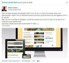 Omtale på LinkedIn af hjemmesideløsning til Team Montage v/ Allan Cohen