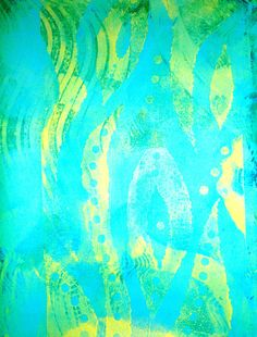 A print from my last Gelli session - Kris Zorko. This print was done on lime green paper, in shades of blue and dark green, using a foam stamp I made and a Catalyst wedge.