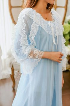 "Material: made of polyester and lace Colors: White/Pink/Blue Size reference: Size Condole belt is long Shoulder Bust Sleeve length Long coat One Size "" "" "" "" "" Wedding Night Lingerie, Honeymoon Lingerie, Rainbow Outfit, Vintage Nightgown, Nightgowns For Women, Pretty Lingerie, Babydoll Dress, Dress Lace, Kawaii Clothes"
