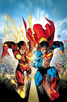 The Flash vs Superman Dc Comics Superheroes, Arte Dc Comics, Dc Comics Characters, Superman V, Batman, Flash Wallpaper, Comic Book Collection, Comics Universe, Dc Heroes