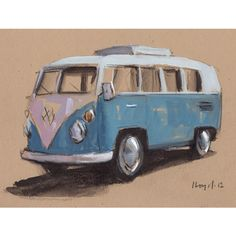 Original Painting VW Bus Hippie Retro Vintage Auto Kombi Watercolor... ($22) ❤ liked on Polyvore featuring home, home decor, wall art, blue painting, blue wall art, paper wall art, blue home decor and sketch drawing